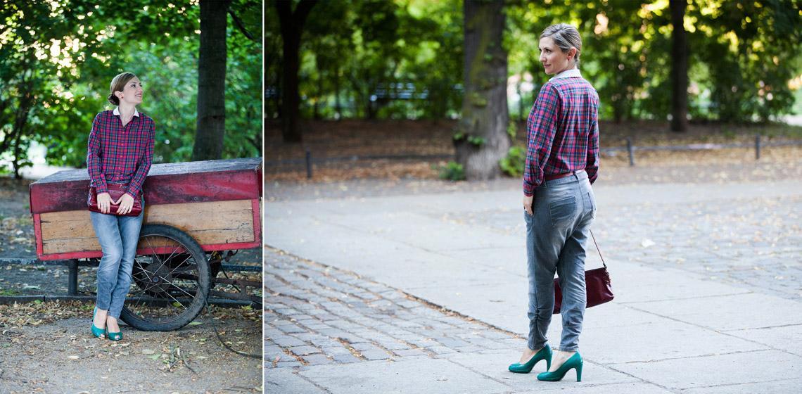 Foto von Outfit Freizeit Casual Karobluse Stilberatung Maja Schmidt